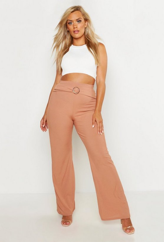 Womens Camel Plus O-Ring Wide Leg High Waisted Rib Trouser
