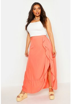 Womens Coral Plus Wrap Frill Split Maxi Skirt