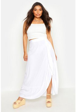 Womens Ivory Plus Wrap Frill Split Maxi Skirt