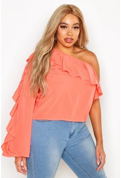 Womens Coral Plus Woven Frill One Shoulder Top