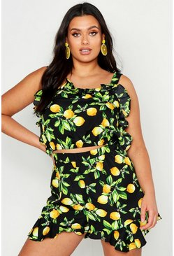 Dam Black Plus Lemon Print Frill Top And Flippy Short Co-ord