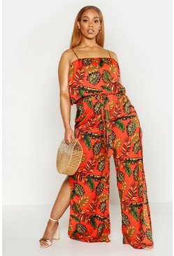 Womens Orange Plus Palm Print Tie Waist Trouser And Top Co-ord