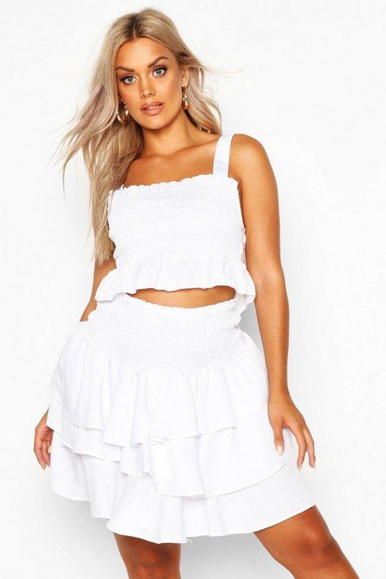 Plus Woven Sheered Ruffle Bardot Mini Skirt Co Ord by Boohoo