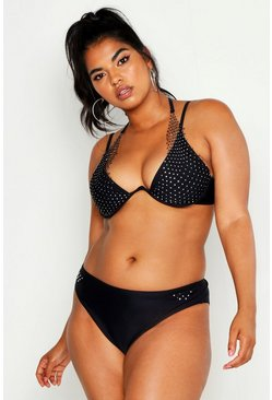 Dam Black Plus Premium Jewelled Netted Underwire Bikini