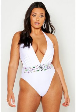 Dam White Plus Premium Plunge Jewelled Swimsuit