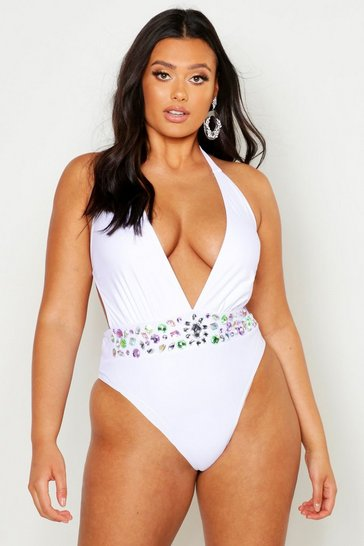 Womens White Plus Premium Plunge Jewelled Swimsuit