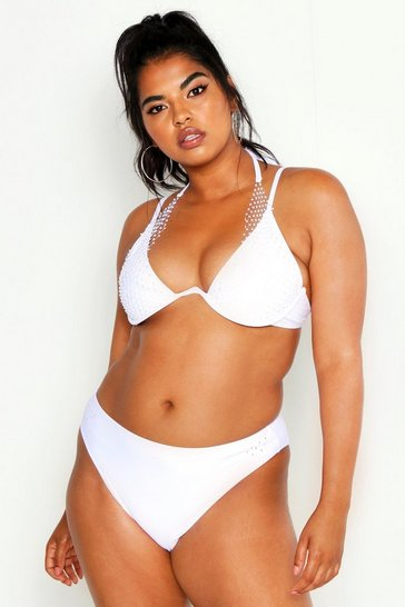 White Plus Premium Jewelled Netted Underwire Bikini