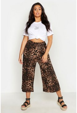 Womens Brown Plus Leopard Print Wide Leg Culotte