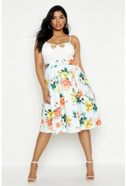 Womens Sky Plus Scuba Floral Midi Skirt