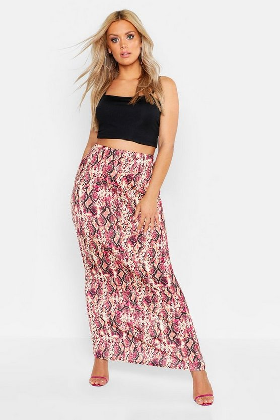 Womens Pink Plus Pink Snake Maxi Skirt