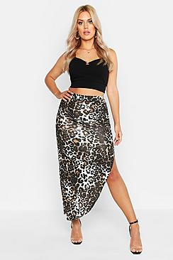 Plus Ruched Jersey Leopard Print Maxi Skirt