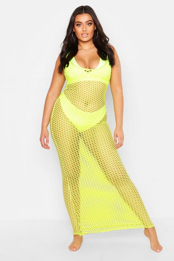 Womens Neon-lime Plus Open Mesh Cami Maxi Dress