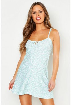 Womens Sage Petite Bust Cup Detail Fit & Flair Sun Dress