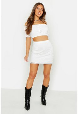Womens Petite White Mesh Off The Shoulder Top & Skirt Co-ord