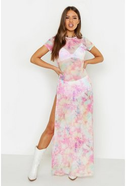 Womens Pink Petite Cosmo Print Mesh Maxi Dress