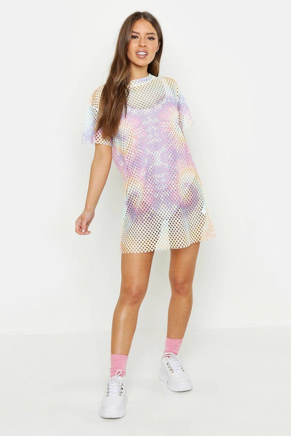 1c0e966aa91d75 Petite Pastel Tie Dye Mesh T Shirt Dress | Boohoo