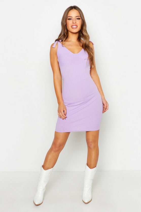 Womens Lilac Petite Rib Tie Strap Bodycon Mini Dress