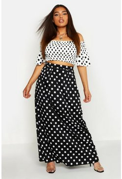 Womens Black Plus Woven Spotty Top & Maxi Skirt Co-ord