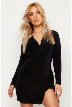 Womens Black Plus Slinky Cowl Neck Bodycon Dress