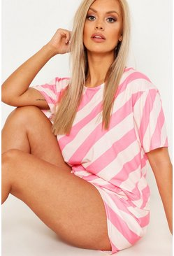 Womens Pink Plus Stripe Shorts PJ Sets