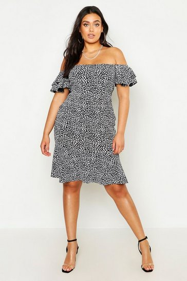 Womens Black Plus Off The Shoulder Polka Dot Ruffle Smock Dress