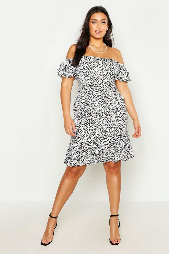 Womens White Plus Off The Shoulder Polka Dot Ruffle Smock Dress