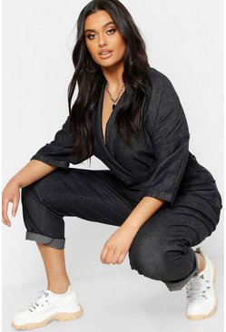 Womens Charcoal Plus Denim Boilersuit