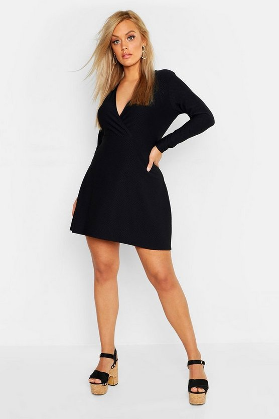 Black Plus Textured Wrap Front Skater Dress