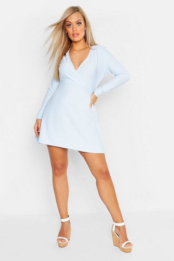 Womens Sky Plus Textured Wrap Front Skater Dress