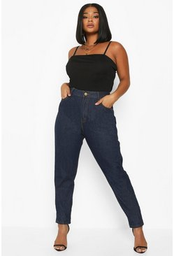 Plus jeans taglio mom a vita alta, Blu scuro