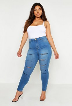 Womens Blue Plus Slash Rip Jegging