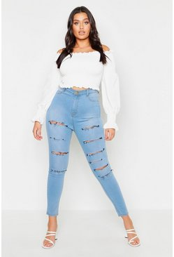 Womens Light wash Plus Slash Rip Jegging