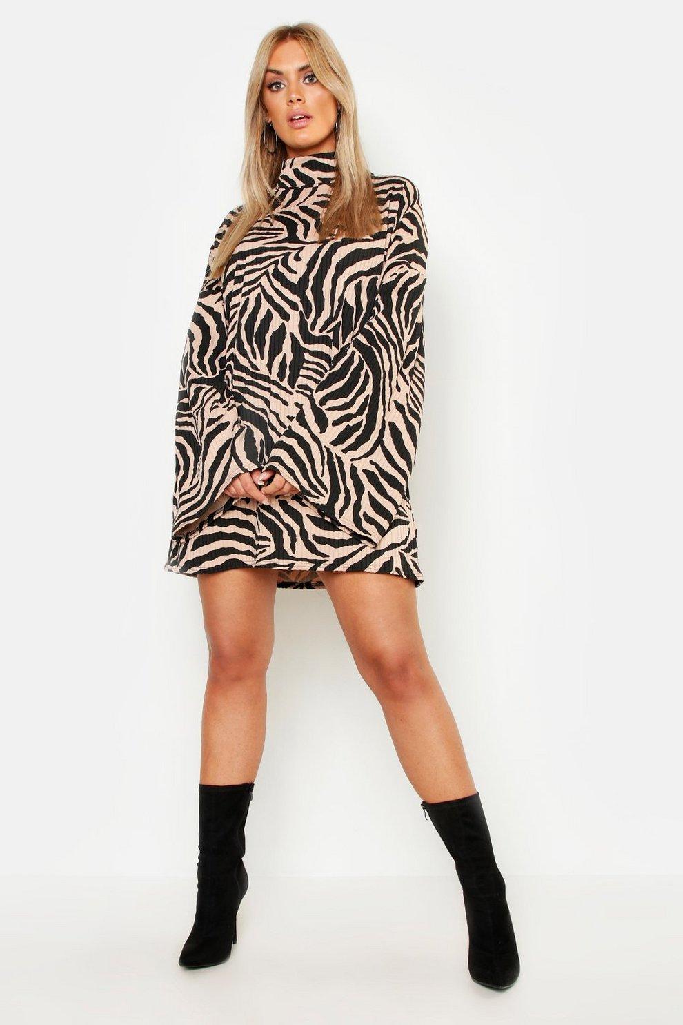 f77a476db2 Womens Camel Plus Tiger Wide Rib Oversized Jumper Dress