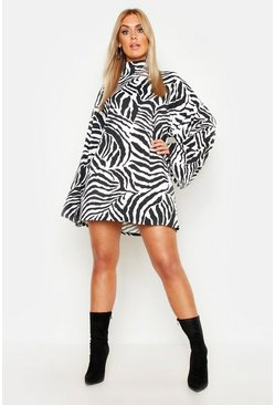 Womens White Plus Tiger Wide Rib Oversized Jumper Dress