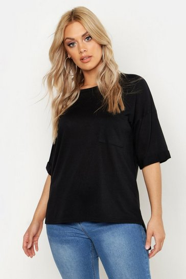 Womens Plus Knitted Pocket Oversized T-Shirt