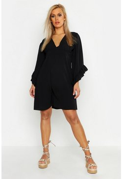 Womens Black Plus Ruffle Flare Sleeve Skater Dress