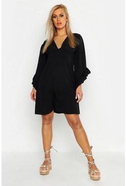 Plus Ruffle Flare Sleeve Skater Dress