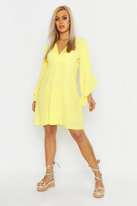 Womens Yellow Plus Ruffle Flare Sleeve Skater Dress