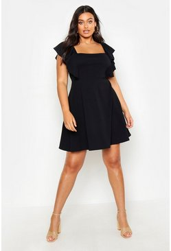 Womens Black Plus Ruffle Front Pinafore Dress