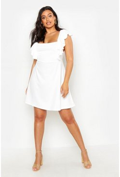 Womens Ivory Plus Ruffle Front Pinafore Dress