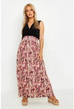 Plus Pink Snake Plunge Slinky Maxi Dress