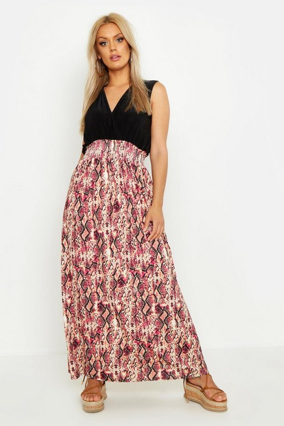Womens Black Plus Pink Snake Plunge Slinky Maxi Dress