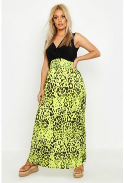 Womens Lime Plus Neon Leopard Plunge Slinky Maxi Dress