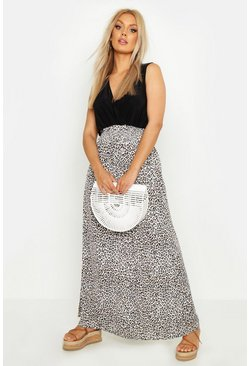 Black Plus Leopard Plunge Slinky Maxi Dress