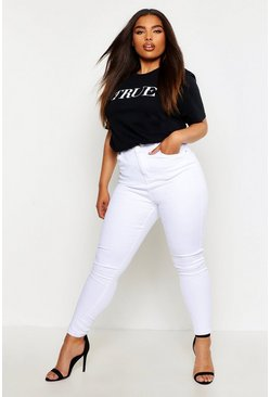 Womens White Plus High Waist Skinny Jean