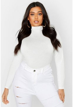 Womens White Plus Basic Funnel Neck Long Sleeve Crop Top