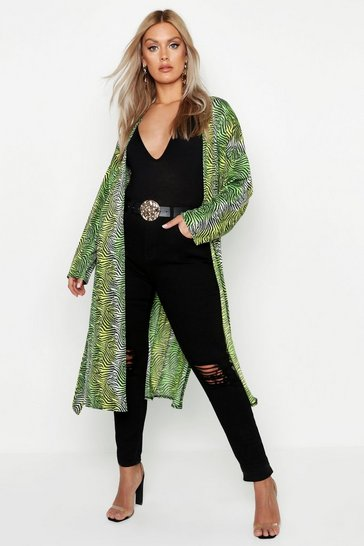 Womens Green Plus Slinky Zebra Printed Belted Kimono
