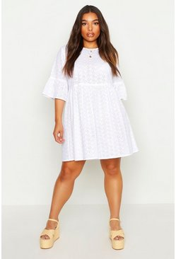 White Plus Broderie Anglaise Smock Dress