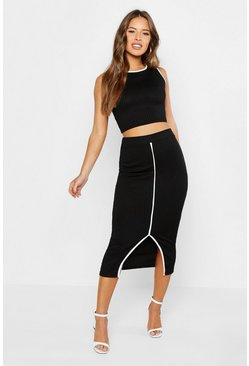 Womens Black Petite Contrast Rib Skirt & Top Co-ord