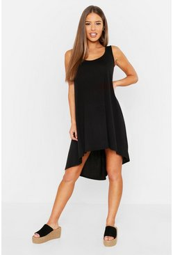 Womens Black Petite Neon Dip Hem Beach Dress
